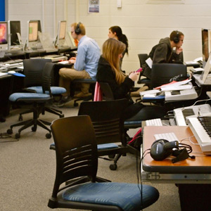 Students working in computer lab.