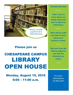Chesapeake Library Open House Flyer
