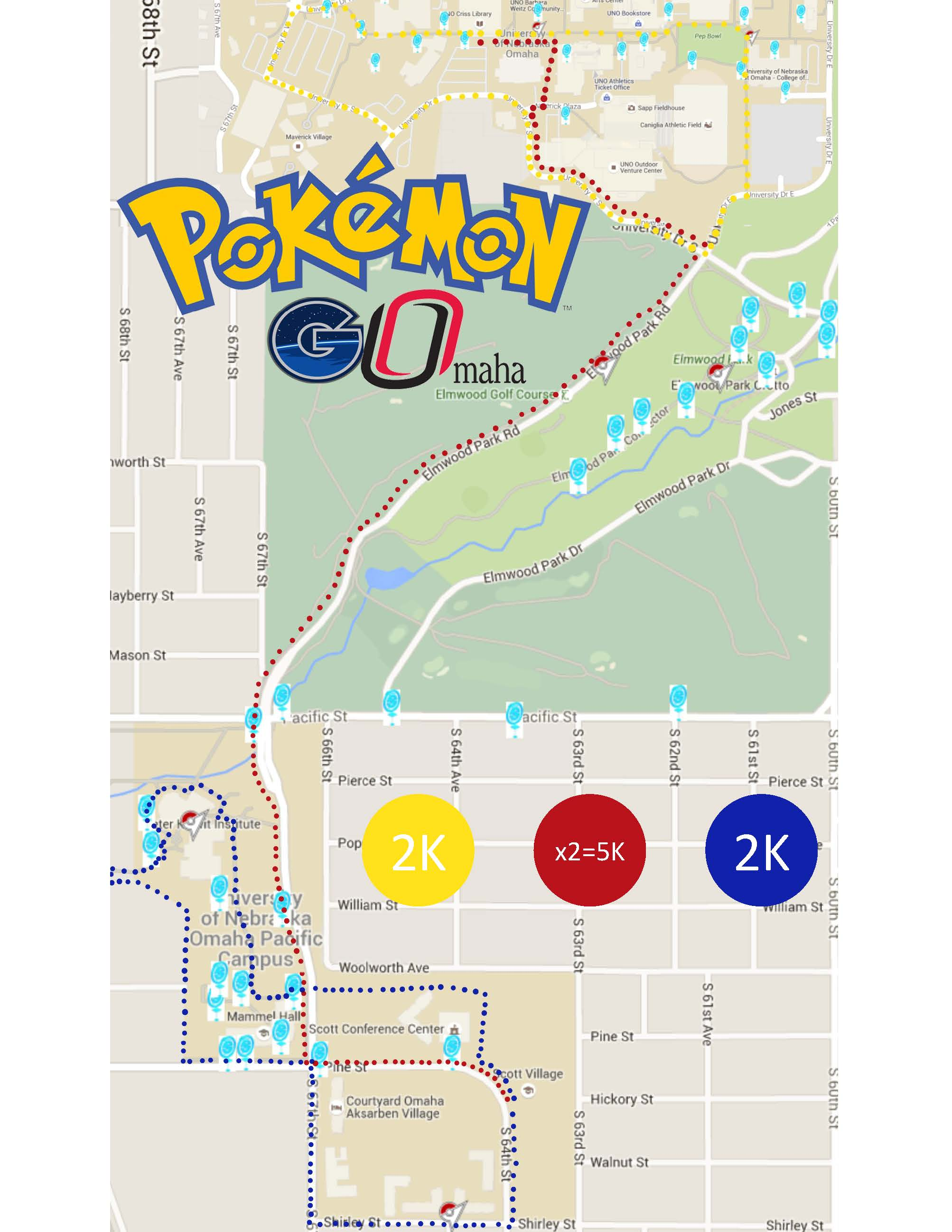 Map of Pokemon GO walking routes on UNO campus
