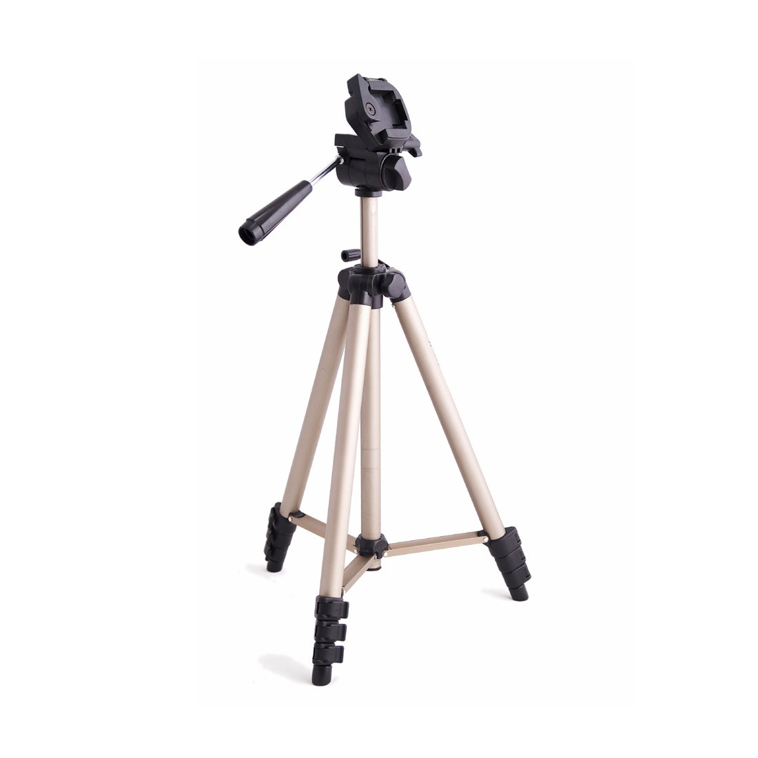 Photo of a tripod with camera mount available for checkout.