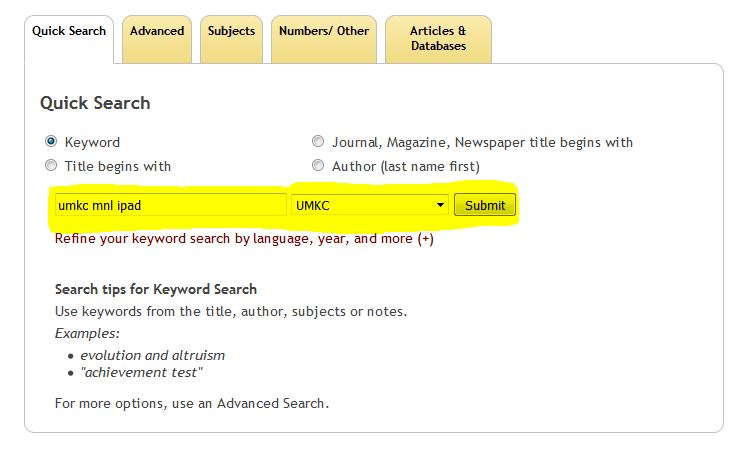 Miller Nichols Library Qucik Search Page Using Keyword Search