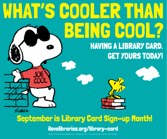 Snoopy and Woodstock promoting National Library Card Month
