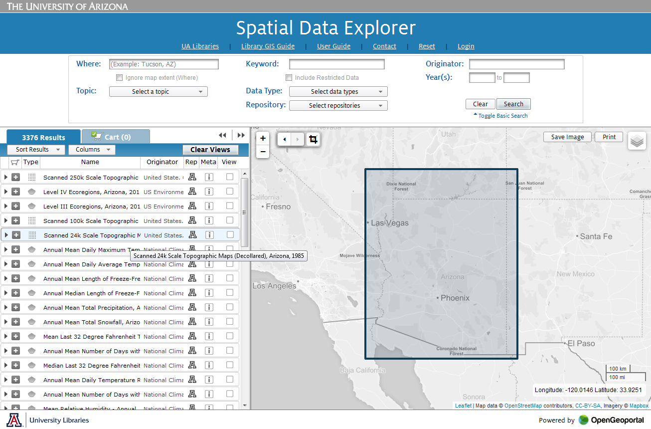 Screenshot of new Spatial Data Explorer page