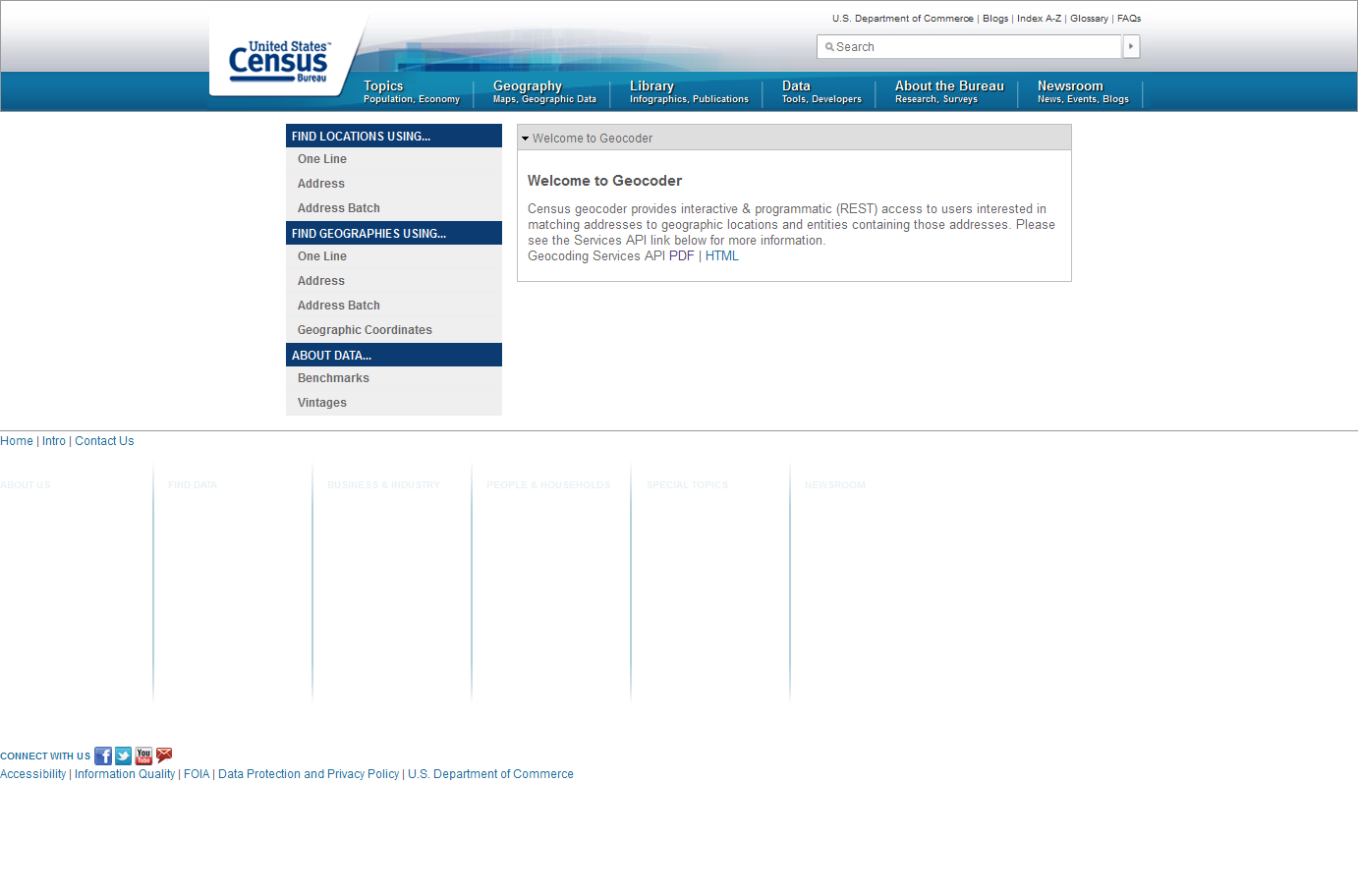 US Census Bureau Geocoder Screenshot