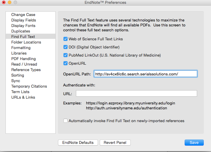 EndNote Preferences Box