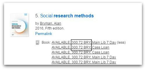 CityLibrary Search result for Social Research Methods shows available copies at shelfmark 300.72 BRY