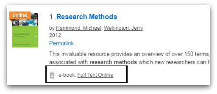 CityLibrary search results page shows an ebook titled Research Methods with a link to Full Text Online.