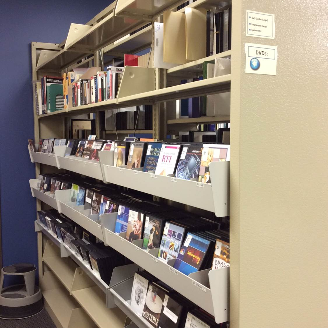 Photo of DVDs that can be checked out to use at AV Stations