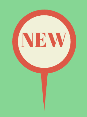 Image of a map pin with the word NEW