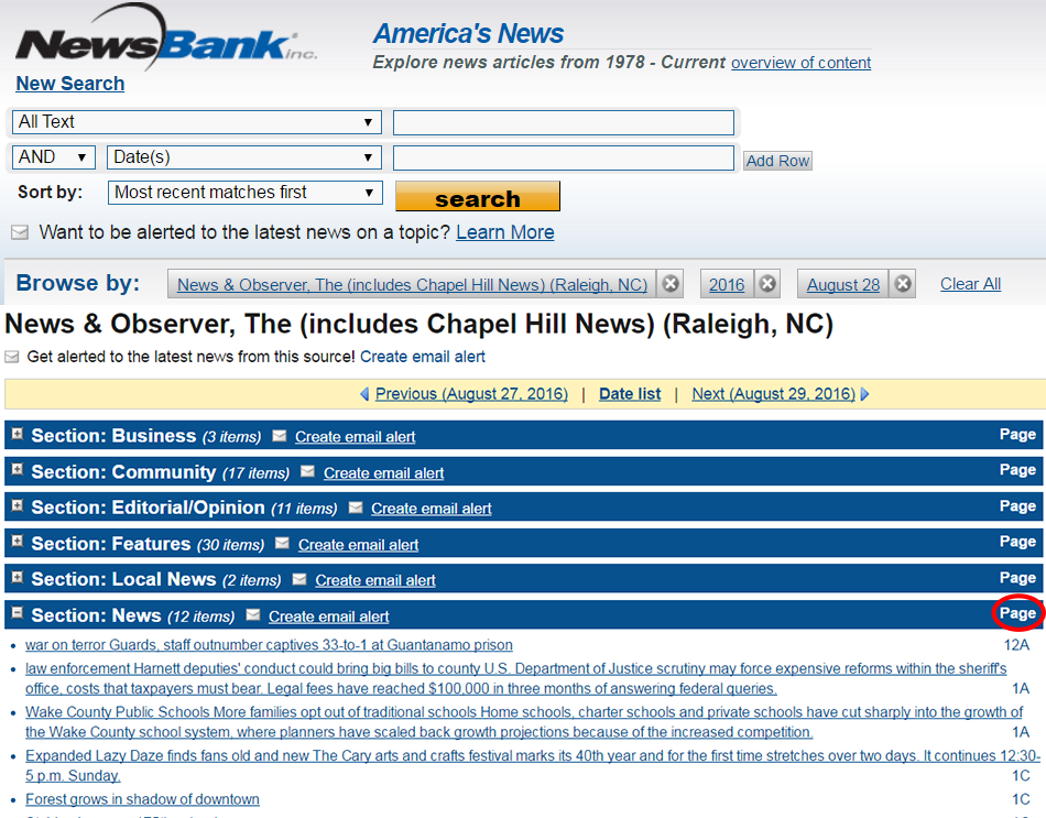 NewsBank Recent Issues Search Results