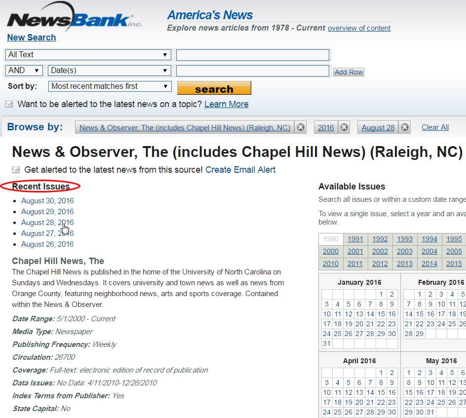 NewsBank Recent Issues Search