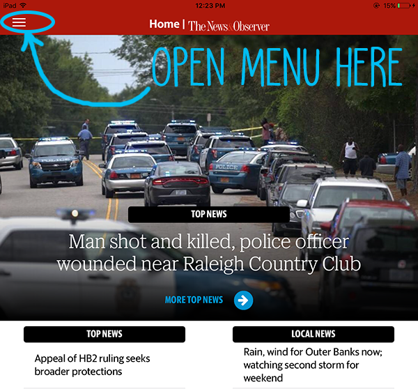 News and Observer Menu on iPad
