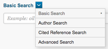 screenshot of Web of Science search screen