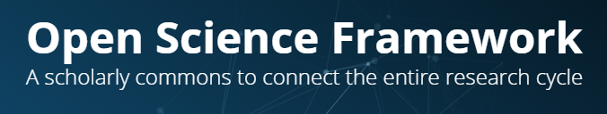"Logo for Open Science Framework that reads, ""A scholarly commons to connect the entire research cycle"""