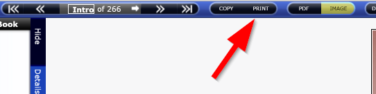 The print button for EBL books is located in the toolbar near the top of the screen.