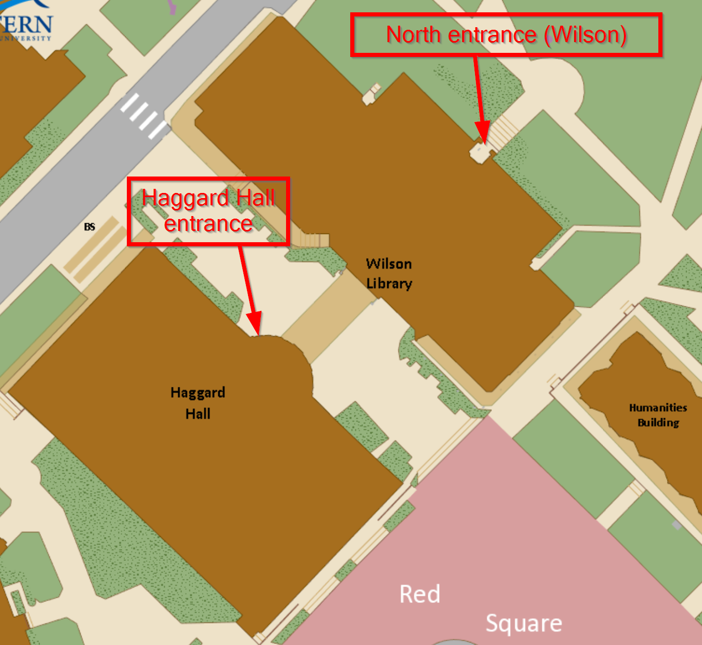 Use either the Wilson north entrance or Hggard Hall entrance to get into the library