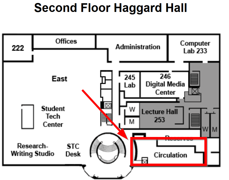 The Circulation desk is located near the rotunda stairs and elevator.