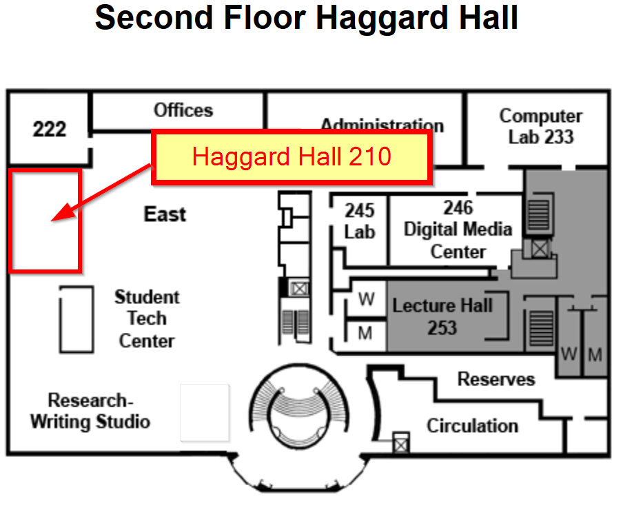 Map showing the location of Haggard 210, located on the second floor, east wall and south corner, of Haggard Hall.
