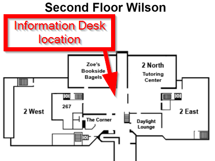 The Information Desk is located just inside the north doors. You will go up a slight of steps, through a door, through a security gate near the door, after which the Information Desk is a few steps forward and slightly to the right.