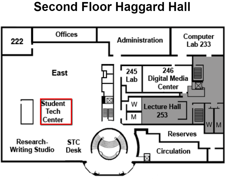 Image of map with location of paper cutter on level 2 of Haggard Hall