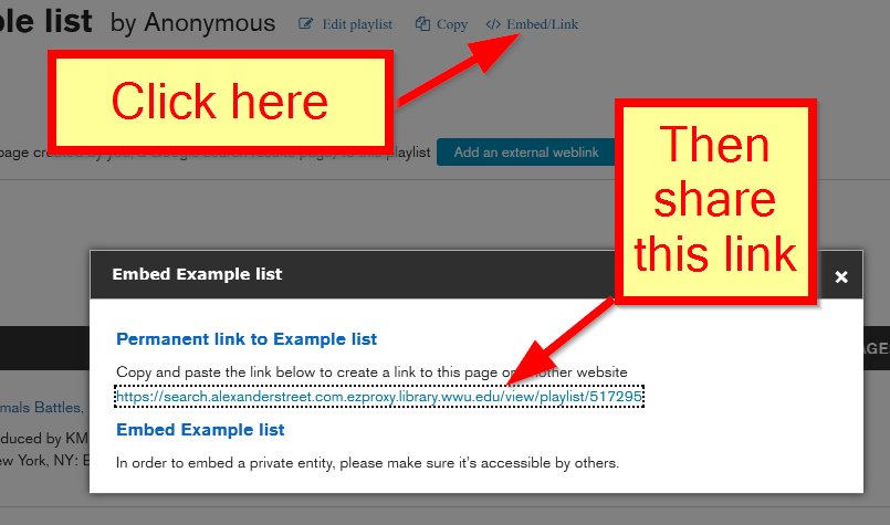 Share by clicking Embed Link then copy the URL.