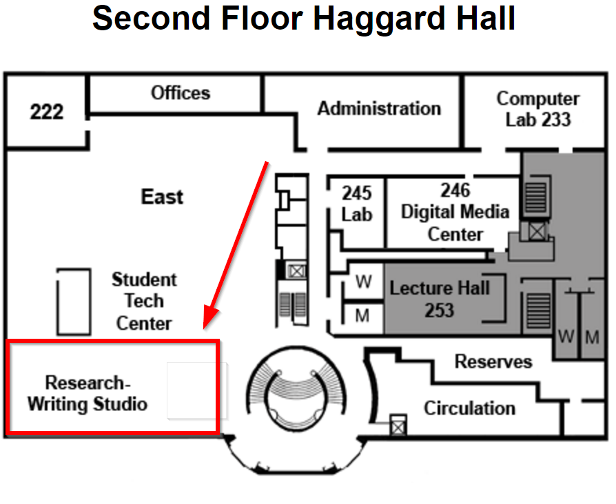 Map of Haggard 2 with Studio location highlighted