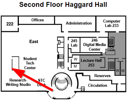 Map showing Studio study pods location past the entrance to the Research and Writing Studio and Student Technology Center on the second level of Haggard Hall, east side of the building.