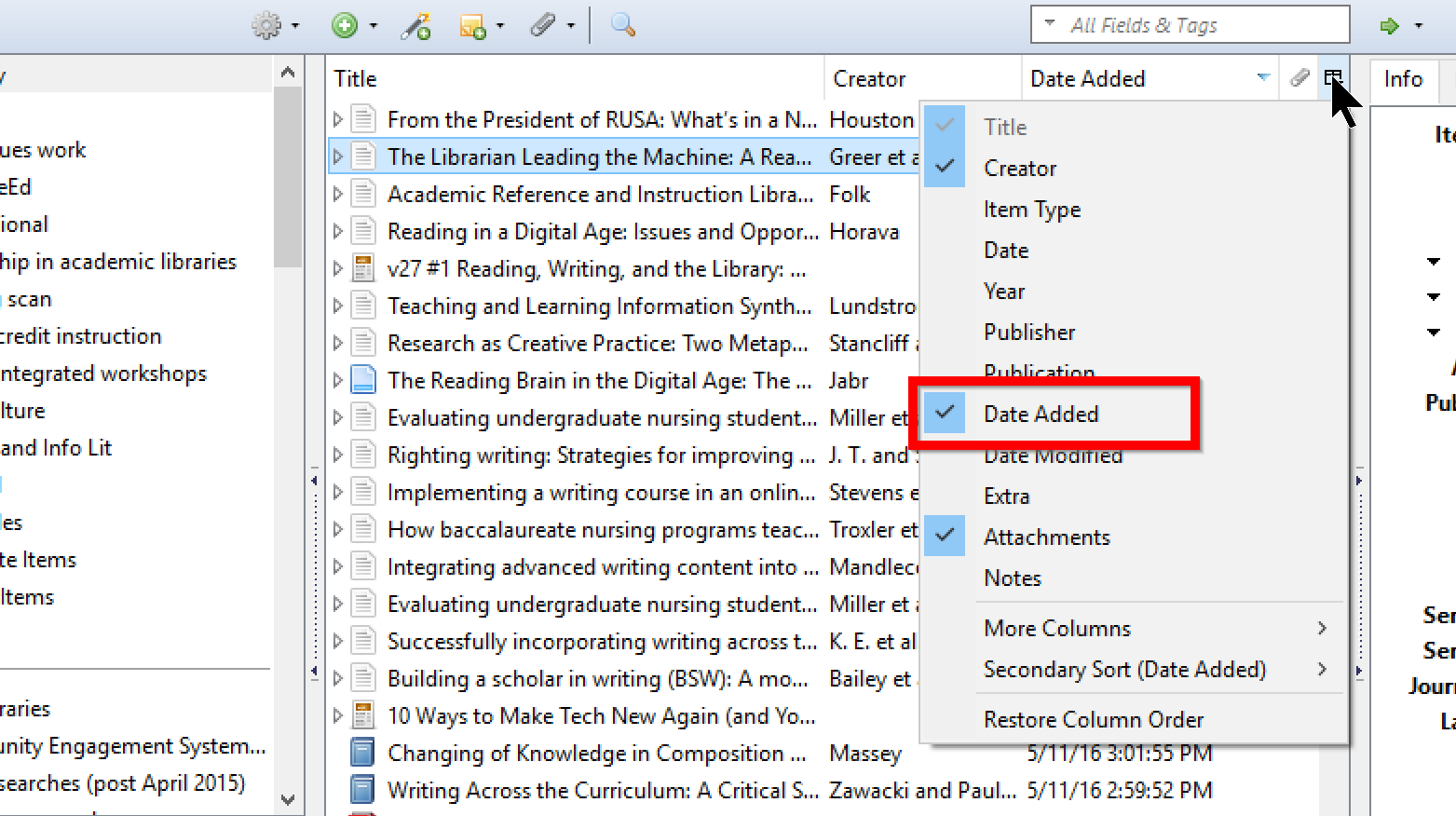 "You can add a ""Date Added"" column in Zotero, among many other possible options, for sorting purposes."