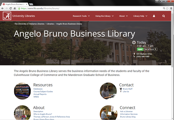 Bruno Library home page