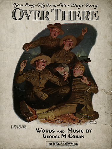Cover of sheet music, over there by george m. cohan, featuring five you male soldiers singing by firelight
