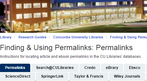 Finding and using permalinks video title page