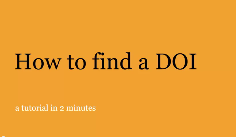 How to find a DOI video first screen