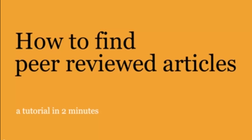 Title page for video: How to find peer reviewed articles