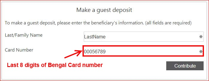 eAccounts enter last 8 digits of bengal card number