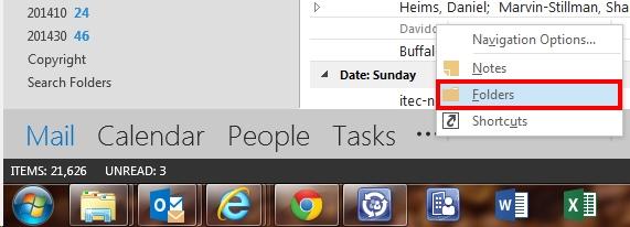 Ellipsis button- select Folders