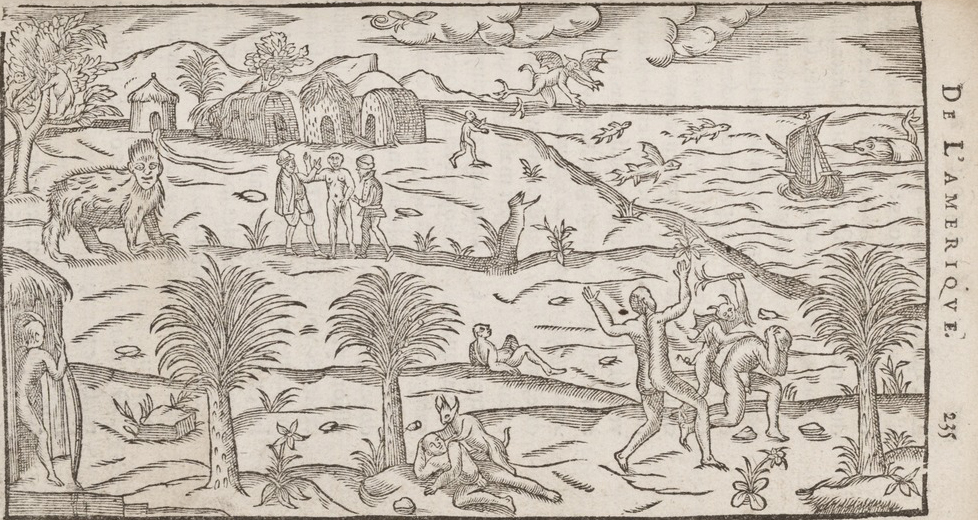 Untitled woodcut illustration depicting mythological beasts and figures in a landscape