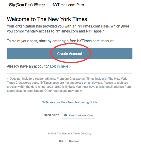 Create New York Times account