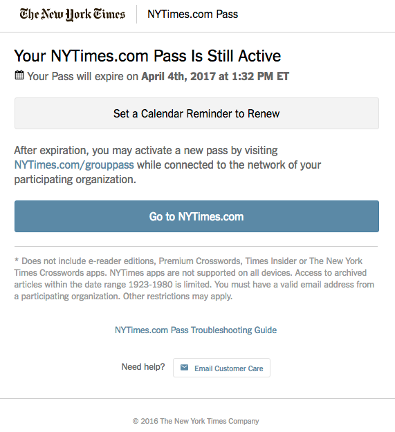 New York Times group pass confirmation
