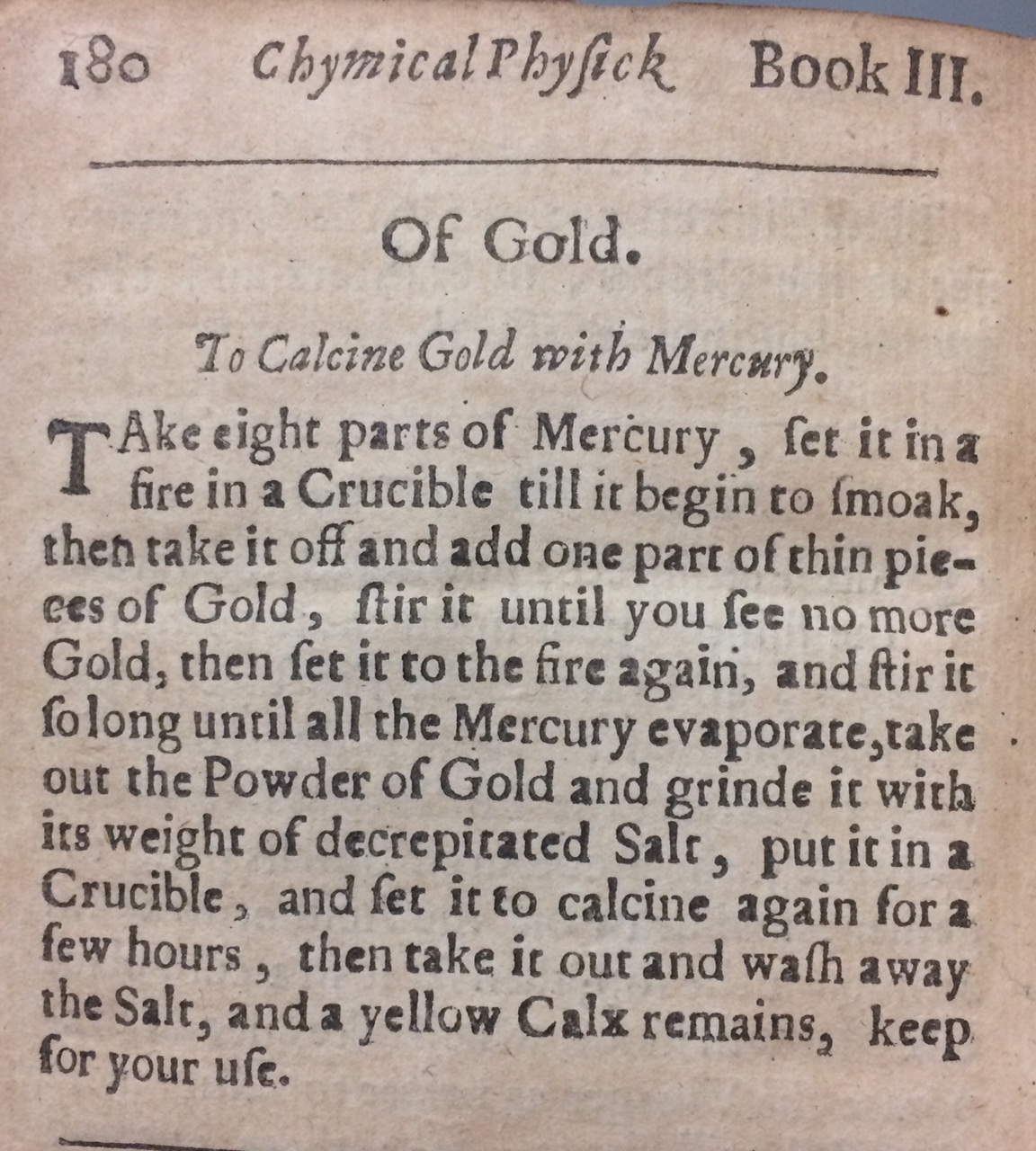 Text entry to Calcine Gold with Mercury.