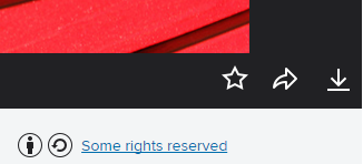 "Screenshot showing ""Some rights reserved"" hyperlinked to a Creative Commons license from underneath a photo on Flickr.com"