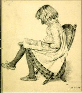 Young girl reading in chair