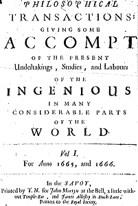 Title page of the first issue of Philosophical Transactions