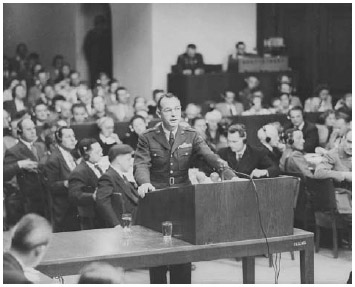 Telford Taylor makes opening remarks at the Nuremberg Trials