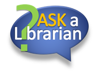 "Speech bubble that says, "" Ask a Librarian"""