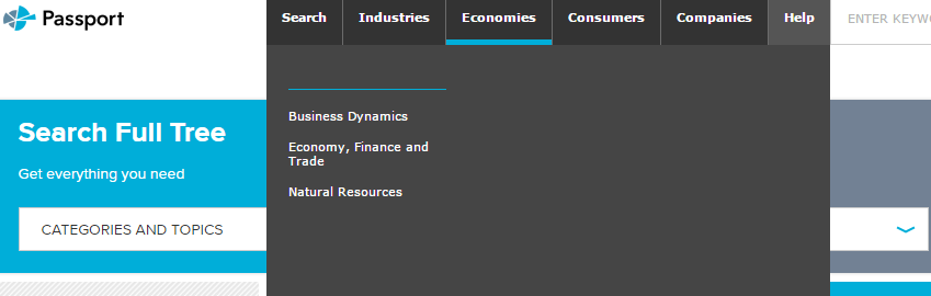Hovering over the Economies category shows the topics under it.