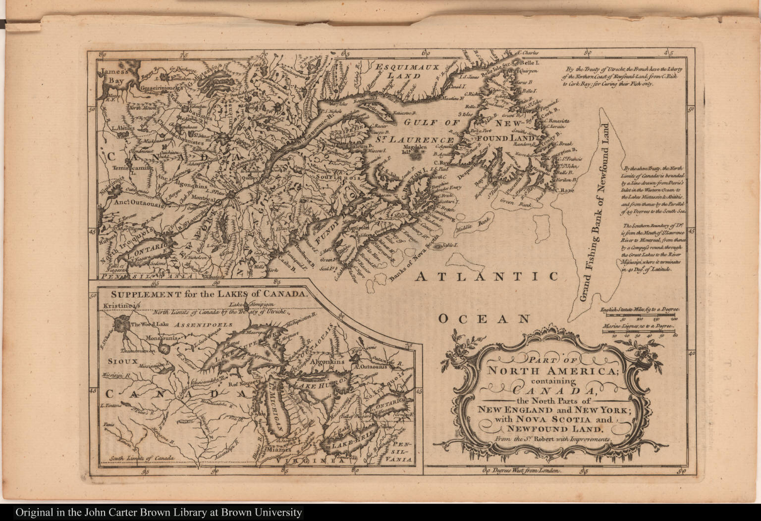 Part of North America; containing Canada, the North Parts of New England and New York;