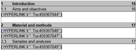 Fältkoder i innehållsförteckning