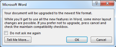 Message from Word 2013