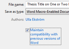 Maintain compatibility with previous versions of Word