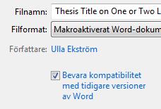 Bevara kompatibilitet med tidigare versioner av Word